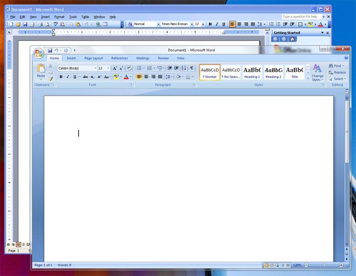 A virtualized copy of Word 2003 running inside XP Mode alongside Word